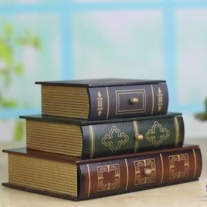 Image 2 - Joyero Vintage de tres capas superpuesta tipo libro, artesanías de madera, caja de acabado de escritorio, caja de almacenamiento de cosméticos, decoración del hogar
