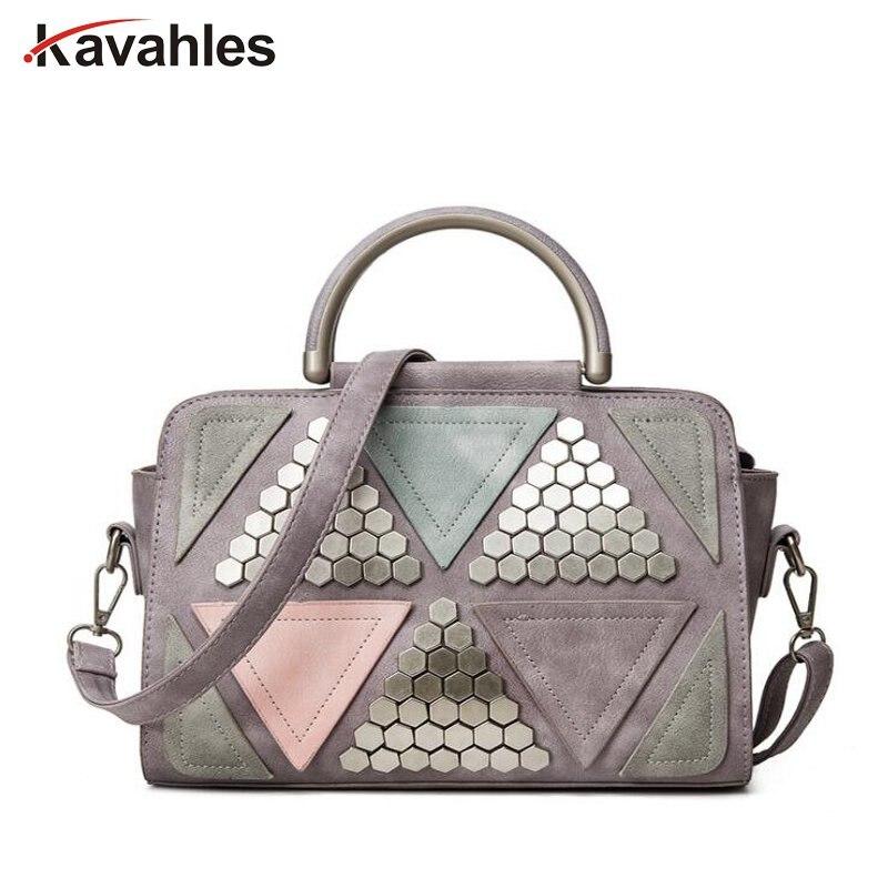 2018 nouveau patchwork casual rivet totes femmes shopping sac à main hotsale dames de mode épaule messenger bandoulière sacs PP-1118