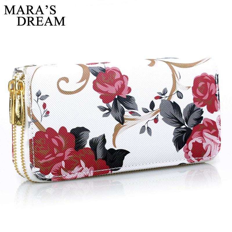 Mara's Dream 2019 Women's Wallet Rose Print Wallet Fashion Handbags Wild Double Zipper Clutch Bag Multi-card Women Bag Purse