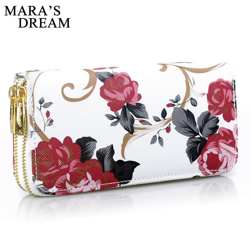 Mara's Dream 2019 Women's Wallet Rose Print Wallet Fashion Handbags Wild Double Zipper Clutch Bag Multi-card Women Bag Purse