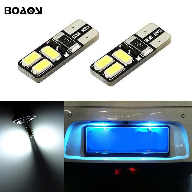 BOAOSI 2x T10 Car LED License Number Plate Light Bulbs Canbus For Nissan Juke Micra III (K12) Micra IV (K13) Note (E11)