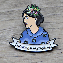 L1413 Virginia Woolf Thinking Is My Fighting Metal Brooches and Pins Enamel Pin for Backpack/Bag Badge Brooch  Collar Jewelry