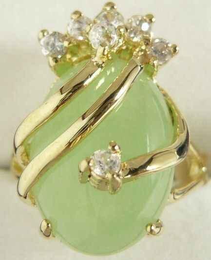 จัดส่งฟรี>>>@@ที่สวยงามและเตรียมพร้อมแสงสีเขียวหยกแหวน18KGP (#7 8 9) #