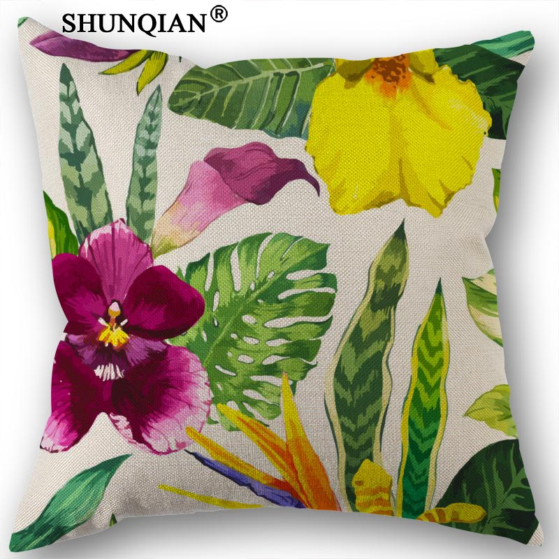 New Custom Tropical Plants Canvas Pillowcase Bedroom Living Room PillowCase 45x45cm One Sides Cotton Linen Pillow Cover