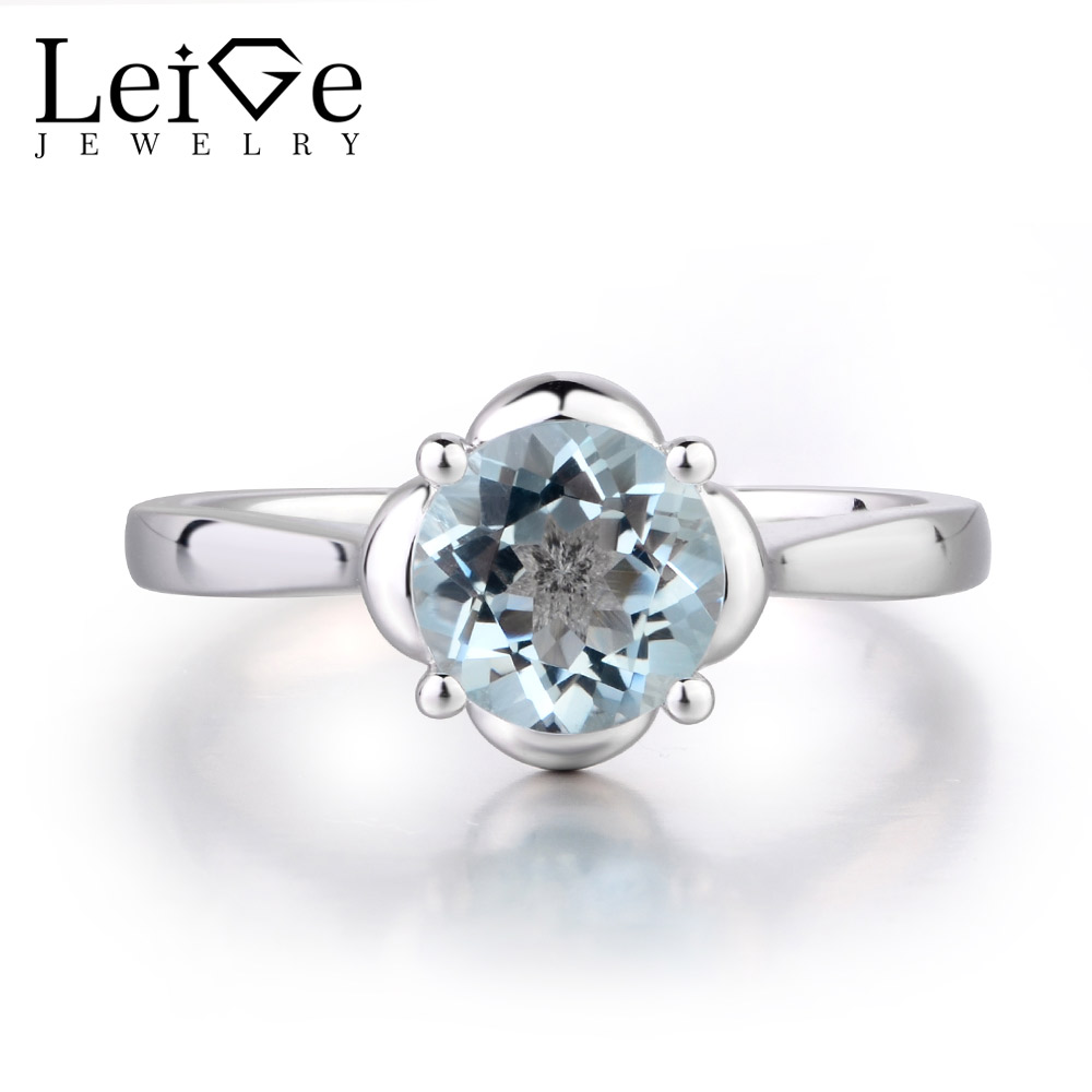 Leige Jewelry Natural Blue Color Aquamarine Ring Engagement Rings For Woman Trendy Gift Round Shape 925 Sterling Silver Gemstone