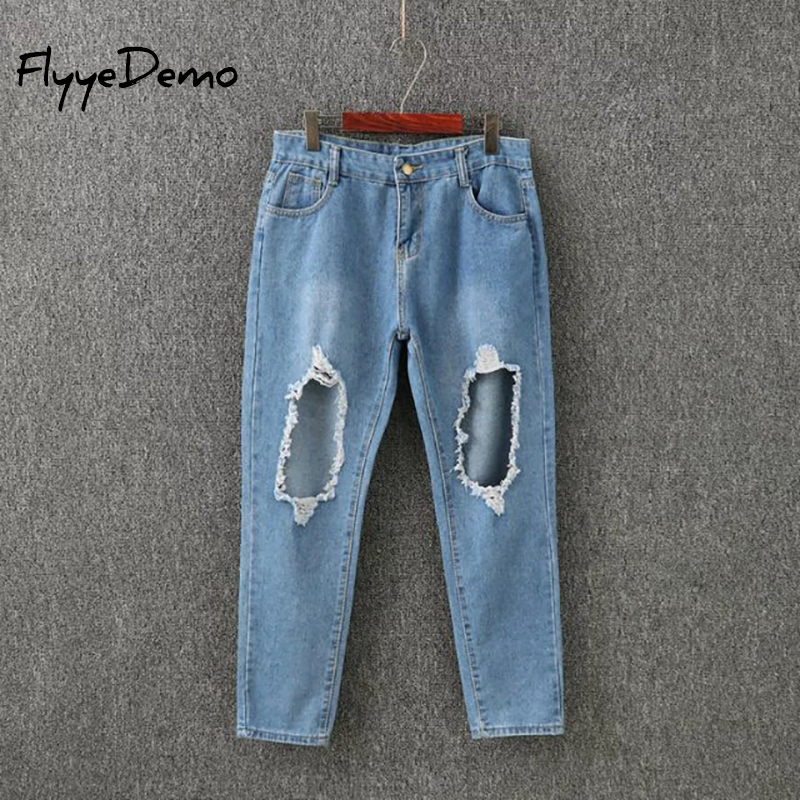 FlyyeDemo Brand Ripped Jeans Women Street Denim Pants Big Holes Torn Vintage Pencil Pants Female Fashion Jeans 4XL 5XL Plus Size plus size 5xl street style boyfriend jeans women denim pants destroyed holes casual fashion loose fit torn ripped jeans female