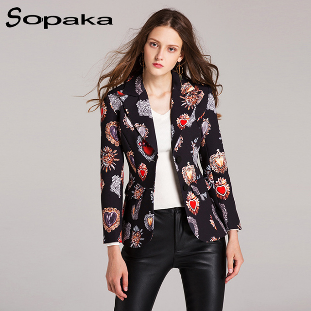 2018 Spring Black Heart Floral Printing Plaid Fashion Slim Single Breasted Women Blazers Casual Runway Design Short Coat woman