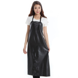 PU Leather Waterproof Apron PVC Black Cooking Cleaning Long Sleeveless Bib Aprons For Woman Man Chef Waiter Accessories