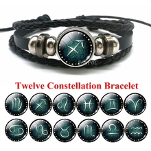 Men Constellation Bracelet 12 Zodiac Signs Glass Cabochon Bucket Charm Leather Bracelets Boyfriend Gifts for Birthday