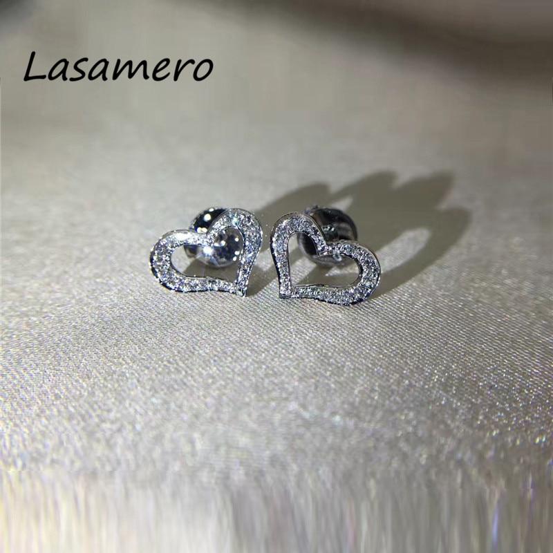 LASAMERO 0.2CTW натуральный бриллиант в форме сердца Кластерные серьги 18 к белое золото бриллиант Halo Серьги гвоздики прекрасные ювелирные изделия