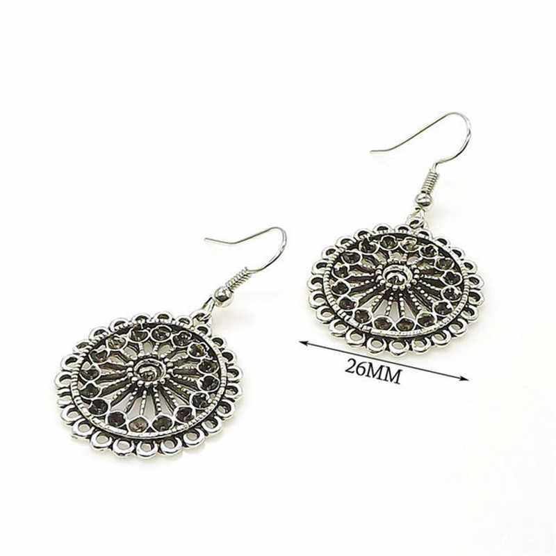 Olaru Trendy Vintage Aretes Silver Round Drop Earrings Circle Ear Ring Dangle Earrings For Women Female Punk Ethnic Jewelry New