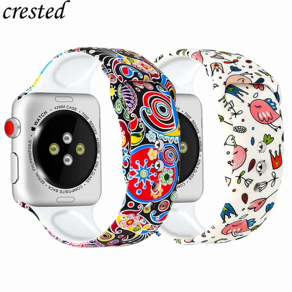 Silicone strap for Apple watch band 42mm 38mm iWatch band 44mm 40mm Printed watchband bracelet Apple watch 4 5 3 2 1 Accessories