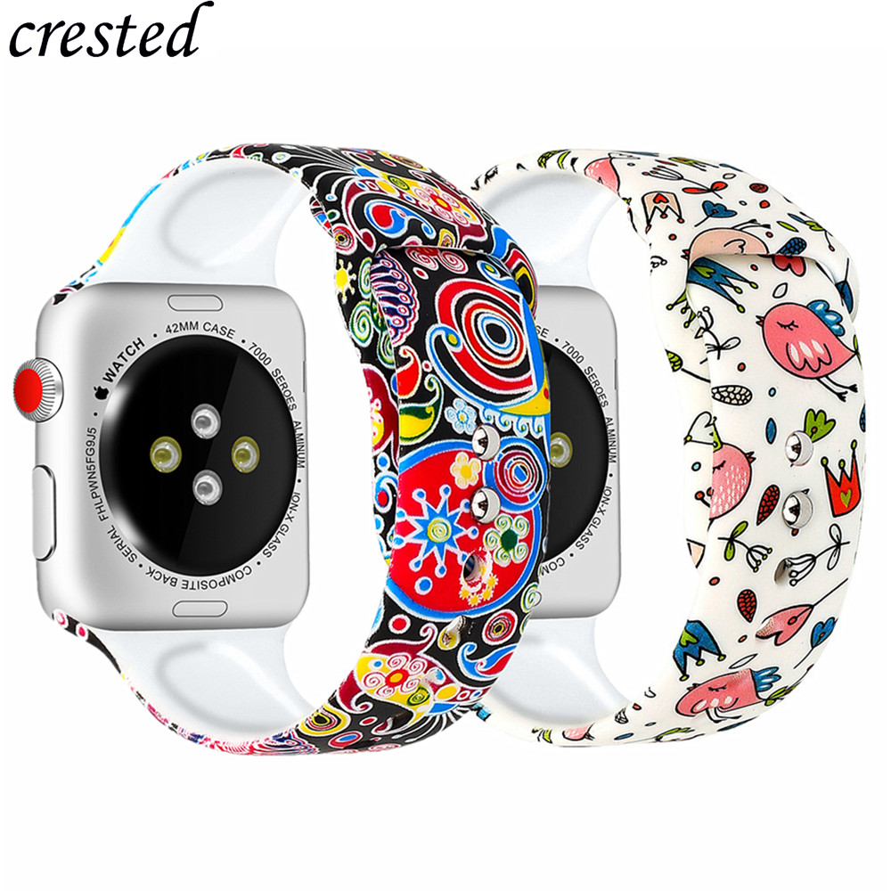 Silicone Strap For Apple Watch Band 38mm 42mm 40/44 Mm Accessories Printed Watchband Bracelet Band IWatch Series 3 4 5 44mm 40mm