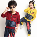 New 2016 Children's Clothing Sets Girls and Boys England Style Clothing Long-Sleeved Kids Suits Retail Free Shipping
