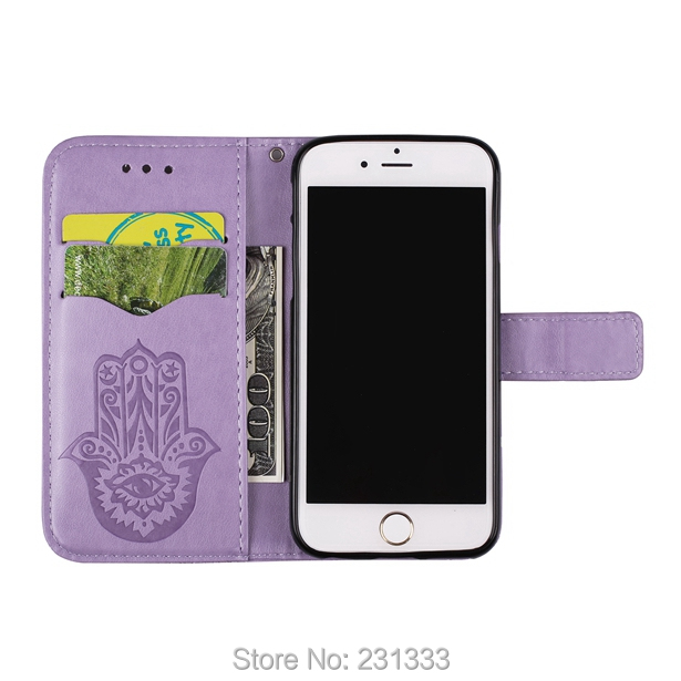 Flower Palm Henna Wallet Flip Leather Pouch Case For Iphone 7 Plus I7 7PLUS 6 6S SE 5 5S Stand TPU Card Strap Emboss Cover 50pcs