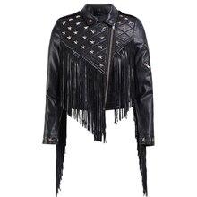 2018 mujeres del otoño fresco borla PU chaquetas de cuero motocicleta  estrellas remaches cortocircuito de cuero Punk Rock Faux c. 413c66bcb2cb