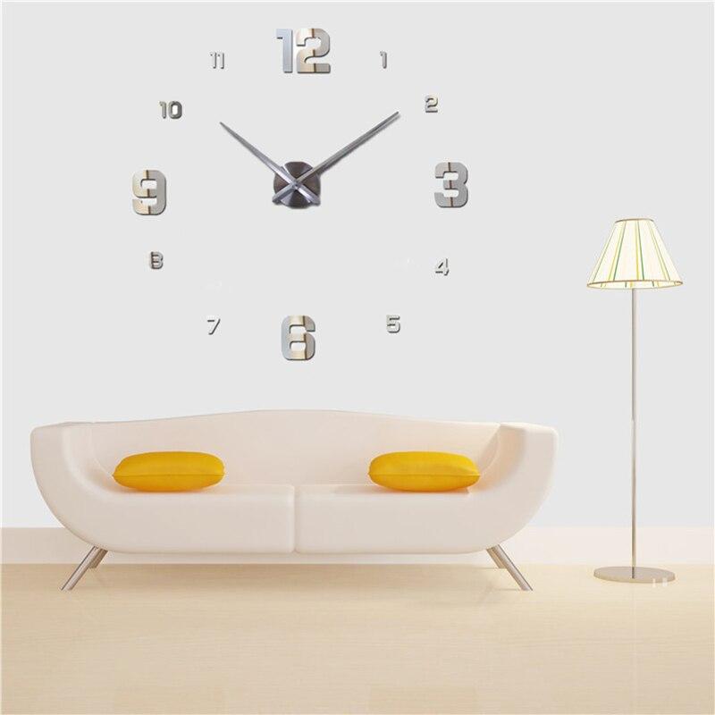 Freeshipping 2019 Nueva decoración del hogar espejo grande reloj de - Decoración del hogar - foto 3