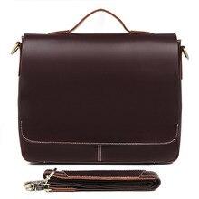 цена на J.M.D Brand Genuine Leather Men's Classic Dark Brown Simple Business Briefcases Laptop Handbag Shoulder Bag Messenger Bag 7108R