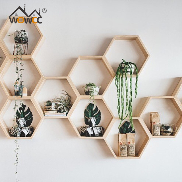 WOWCC INS New Kids Baby Nordic Style Wooden Hexagon Storage Shelf Decorative For Kids Room Chamber & WOWCC INS New Kids Baby Nordic Style Wooden Hexagon Storage Shelf ...