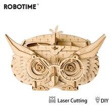 Robotime DIY 3D Wooden Owl Puzzle Game Gift&Penholder&Storage Box for Children Kid Friend Model Building Kits Popular Toy TG405