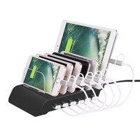 6-Ports שולחן עבודה תחנת טעינה 2.4A/1A מתאם מתח USB מטען Dock תחנה עם מעמד רב מהיר עבור iPhone 8 iPad אנדרואיד
