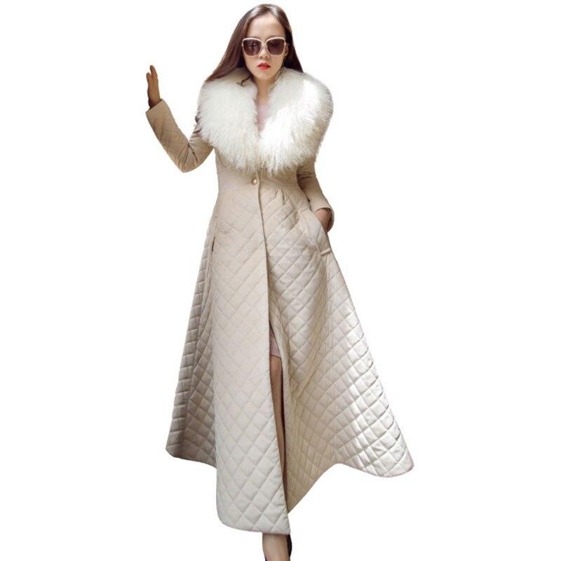 Ropa noir Slim Moutons Femmes Beige 2019 Mongolie Manteau Européen Élégant Col Femme Invierno Style Réel De Long Mujer Grand Fourrure Parkas D'hiver CxBoedWr