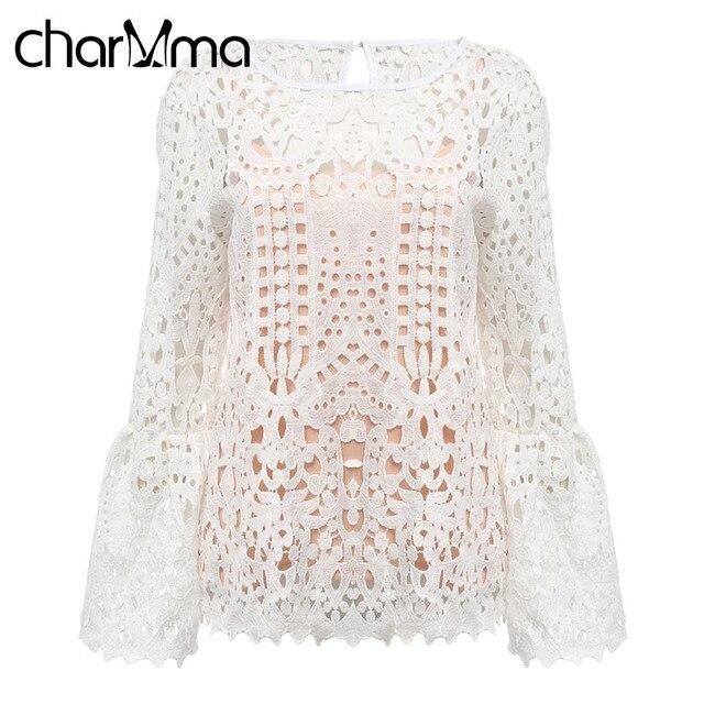 Charmma Sexy Hol Kant Haak Blouse Shirts Vrouwen Elegante Katoen