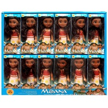 12ピース/セット新劇場moana人形おもちゃのプリンセスドレスアクションフィギュアおもちゃmoana boneca人形誕生日クリスマスギフトパーティー用品