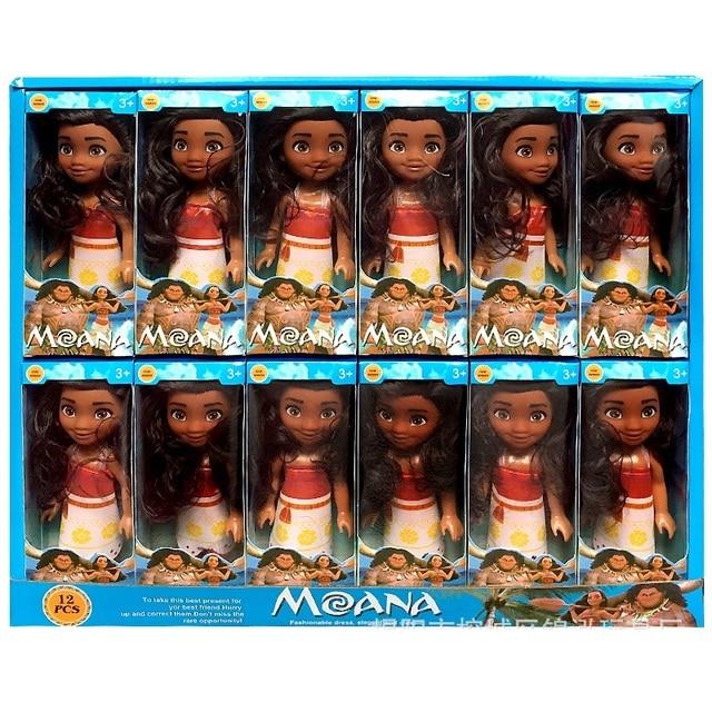 12 pz/set nuovo film Moana Doll Toy princess Dress action figure giocattoli Moana boneca doll compleanno regalo di natale forniture per feste