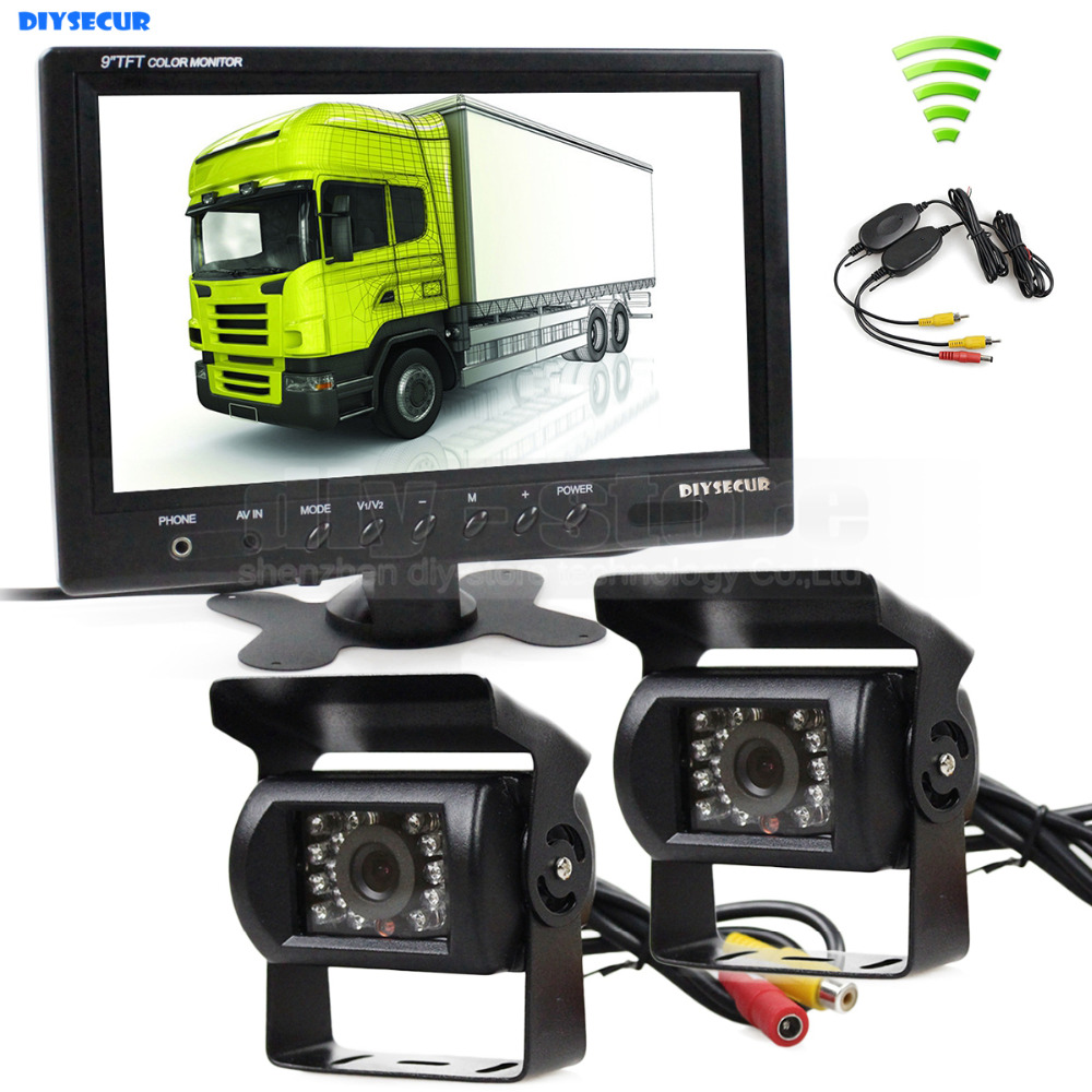 DIYSECUR Wireless 12VDC 9inch Rear View Monitor Car Monitor + Rear View Waterproof Car Camera for Bus Horse Trailer Motorhome diysecur 4pin dc12v 24v 7 inch 4 split quad lcd screen display rear view video security monitor for car truck bus cctv camera