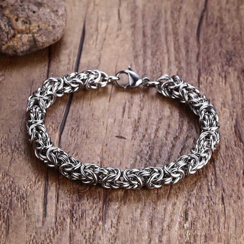 Mens Classic Byzantine Weave Bracelet Stainless Steel Round Wire Turkish Braslet Bracciale (Chain Maille) Male Jewelry 8.46