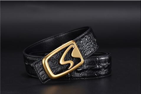 2018 Men's belt fine alloy buckle with high-quality crocodile-belt men's belt