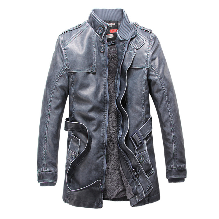 Mens Trench 2017 New Winter PU Jacket Men Leather motorcycle Thicken long trench coat Jackets Outerwear Male Warm Overcoat