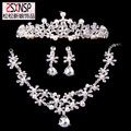 three-piece bridal jewelry pearl wedding tiara wedding crystal crown necklace earrings three piece 888A