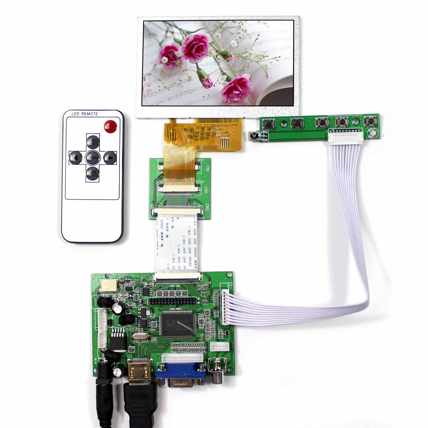 HDMI VGA 2AV LCD Driver Board With 4 3 VS043T 004A 480x272 HSD043I9W1 LCD Screen