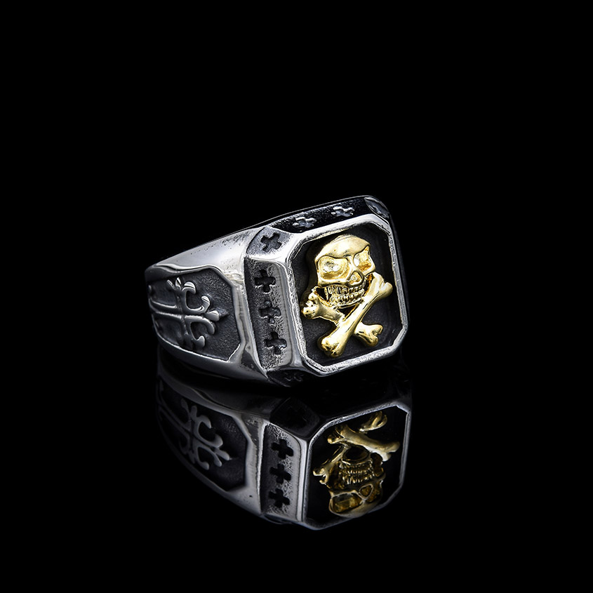 Fashion Cool Mens Gothic Punk Carving Ring Man 316L Stainless Steel High Quality Detail Biker Skull Jewelry For Boy Gift