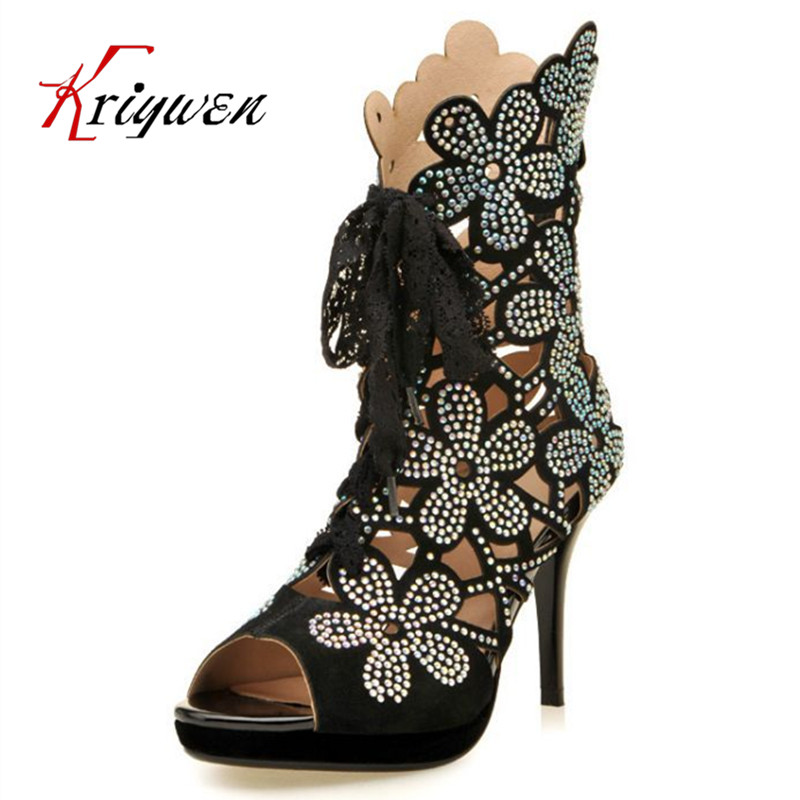 cea4e3046b 2016 brand Fashion summer med-calf boots spring autumn cow suede embroider  rhinestone boots woman sandals smotorcycle boots