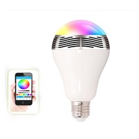 Intelligent E27 6W RGB LED Bulb Bluetooth Smart Lighting Lamp Colorful Dimmable Speaker Lights Bulb