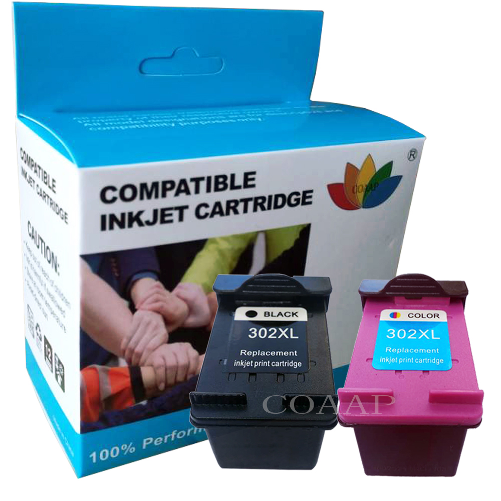 2 Compatible Hp 302 Refilled Ink Cartridge For OfficeJet 3830 3831 3832 3833 3834 3835 4650 4654 Set
