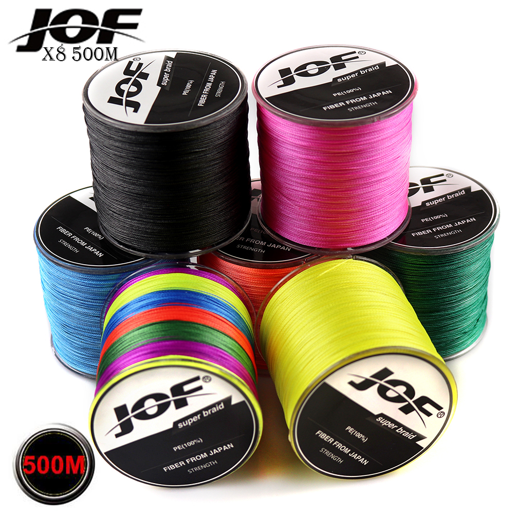 JOF 8 Strands PE Braided 500 Meters Multifilament Fishing Line Rope peche carpe Wire