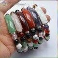 Pulseiras de Pedra Natural 8mm Rodada Beads com Pulseiras e Braceletes Coração 12mm Coração Talão