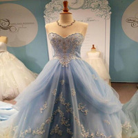 Real Images New Elegant Light Blue Sweetheart Cinderella Wedding Dress Bridal Party Gowns 2015 Wedding Gowns