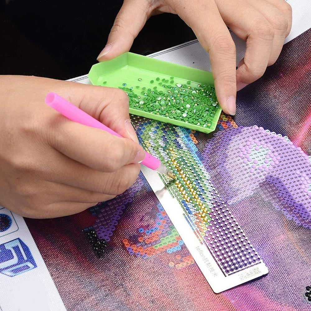 Diamond Painting Point Drill Steel Ruler Marking Tool Net Ruler Hand Diamond Embroidery Stainless Steel Ruler