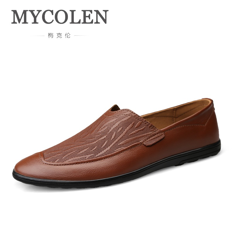 MYCOLEN 2018 Mens Shoes High Quality Men Loafers Spring Autumn Moccasins Men Genuine Leather Walking Shoes MenS Flats ShoesMYCOLEN 2018 Mens Shoes High Quality Men Loafers Spring Autumn Moccasins Men Genuine Leather Walking Shoes MenS Flats Shoes