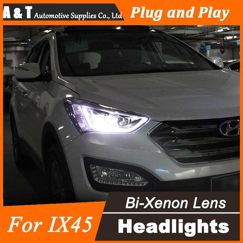 Car Styling for Hyundai IX45 LED Headlight assembly New SantaFe Headlight DRL Lens Double Beam H7 with hid kit 2pcs. free shipping frame for hyundai new santafe car