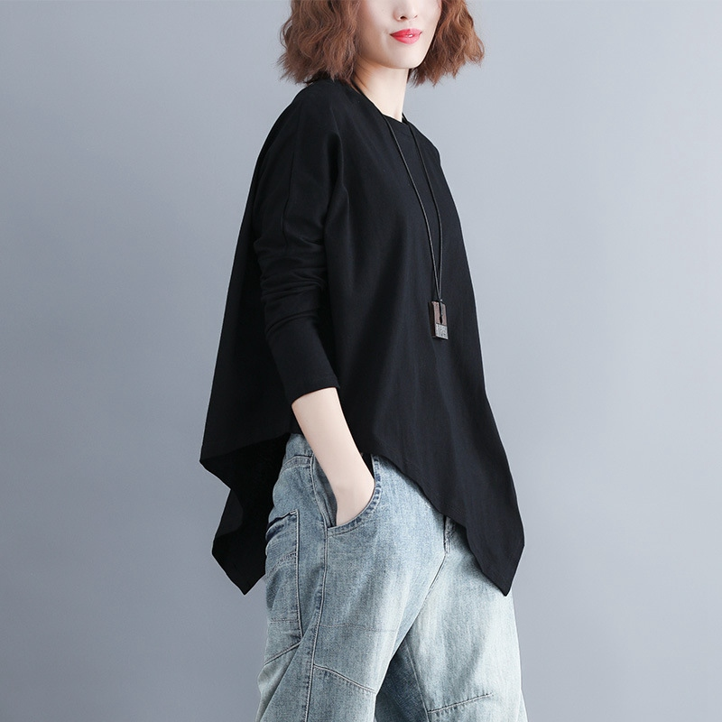 Batwing Sleeve T-shirt Women Casual Plus Size Asymmetrical Tops Long Sleeve Oversize Tees Black MMHH737 11