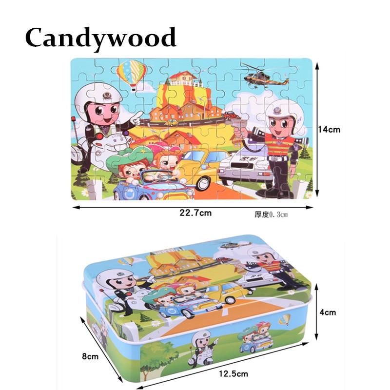 Candywood 60pcs Cizgi filmi Heyvan Puzzle Dəmir Qutusu Uşaqlar - Bulmacalar - Fotoqrafiya 4