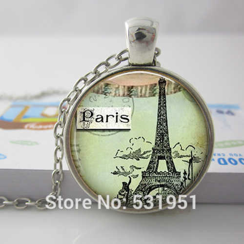Wholesale Glass Dome 25mm Eiffel Tower Necklace Paris Jewelry. Handmade Jewelry art pendant glass cabochon necklace