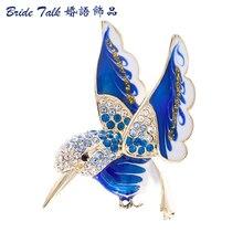 Colibrí Broche Animal Broche Cristales Alfileres De Diamante de Imitación para Las Mujeres Accesorios de La Joyería Regalos de Cumpleaños 2493