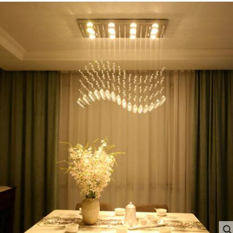 Crystal chandelier living room lamp rectangle simple modern bedroom study room lamp warm romantic crystal lamps LED lighting modern crystal chandelier hanging lighting birdcage chandeliers light for living room bedroom dining room restaurant decoration